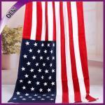 Best high quality wholesale 100% cotton custom flag beach towel wholesale