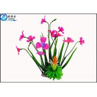 Best Rose Red Plastic Aquatic Plants With Resin Base Fish Tank Background Artificial Plants wholesale
