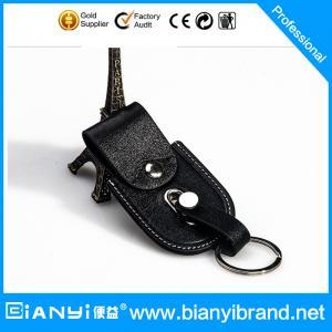 Best High-grade black color PU leather keychain bag wholesale