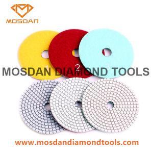 Best 4 Inch White Pane 3 Steps Resin Diamond Polishing Pads for Concrete Stone Floor wholesale