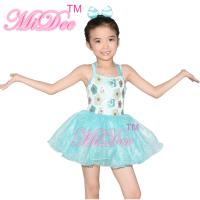 Best Floral Kids Dance Clothes Halter Neck Sequin Dress Tulle Tutu Skirt Attached wholesale
