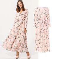 Best custom make new arrival style rose print long dress for woman wholesale