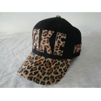Best Applique / Printing Leopard Ladies Fitted Baseball Caps , Strap Closure 6 Panel Hats wholesale