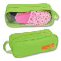 Best 600D Polyester Travel Shoe Storage Bag Slippers Packaging Organizer Pouch With Transparent PVC Window wholesale