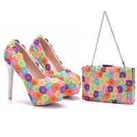 China 2018 Custom Fashion The Same Style Lace Colorful Flowers Sexy High Heels Shoes and Bag for Evening party on sale