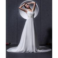Best Elegant around the neck Chiffon Wedding Dresses with open back / cathedral train wholesale