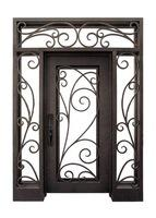 Best Wrought Iron Entry Door with transom and side lights SE iron doors wholesale