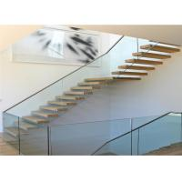 China Fashion residential interior acacia wood stair treads floating stair modern wood stairs on sale