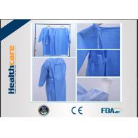 China Reinforced Disposable Surgical Gowns 120x140 High Risk Sterile SMS Gown With Knitted Cuff on sale