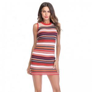 Best Sleeveless Knit Vest Dresses / Women Color Matching Stripes Tight Pencil Bodycon Dress wholesale