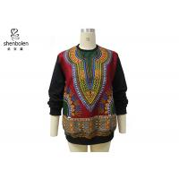 Best Pink Color Round Neck African Print Tops Long Sleeve For Spring / Autumn wholesale