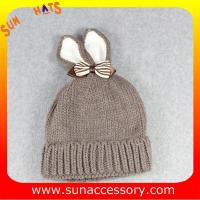 Best AK17023 Sun Accessory customized baby knitted beanie caps and hats with rabbit ear, ,caps in stock MOQ only 3 pcs wholesale