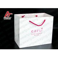 China White Card Paper Custom Printed Grocery Bags , Personalized Paper Wine Bottle Gift Bags on sale