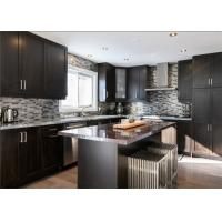 China Black Color Solid Wood Kitchen Cabinets With Blum Full Extension Soft Closing For Villa on sale