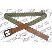 Best Khaki Polyester / Brown PU Mens Braided Belts With Square PU Tip 3.4cm Width wholesale