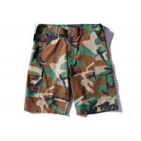 Best Woodland Ripstop Men's Camo Tactical Cargo Shorts Wearfirst With Three Big Belt Loops wholesale