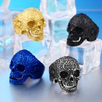 China Stainless steel ring, skull ring for men ,cool black, gold ,antique silver plated rings on sale