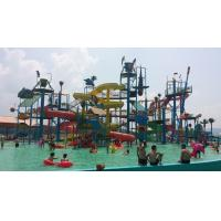 Best Steel Pipe Water Play Structures , Commercial Fiberglass Aqua Park Pool Slides wholesale