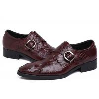 Cheap Autumn Leather Monk Strap Dress Shoe , Wine Red Mens Leather Slip On Dress Shoes for sale