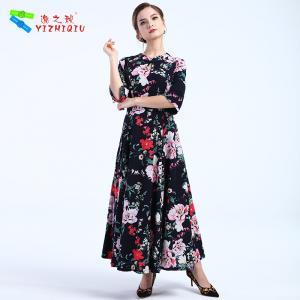 Best Comfortable Cotton Long Sleeve Black Maxi Dress With Button / Zippers Decoration wholesale