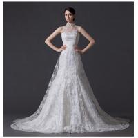 Best Unique Pearl illusion neckline Halter Neck Wedding Dresses with Lace back wholesale