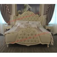Best Exquisite Fabric Padding Headboard with Solid Wood Bed in Ivory White Painting wholesale