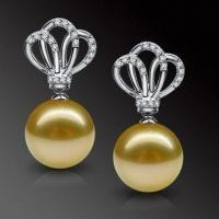 Best South Sea Pearl Earrings, Made of 14K Gold and Diamonds, Suitable for Various Occasions wholesale