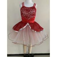China Little Girl Dance Clothes Red Color Custom Made Design About 0.22kg on sale