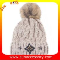 Best QF17021 Sun Accessory customized wholesale knitted beanie caps and hats with Pom pom  ,caps in stock MOQ only 3 pcs wholesale