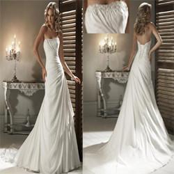 China 2013 Elegant A-line Strapless Chapel Train Chiffon Pleats Wedding Dresses Patterns Online on sale