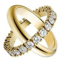China Couple Fashion Jewelry Rings Gold Plated With Crystal Engagement ring on sale