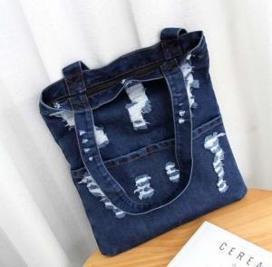 China Summer fashion hole jeans female Korean fashion large capacity bag shoulder bag shopping bag on sale