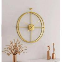 Best 55cm Gold Large Double Circular Metal Round Fashion Modern Simple Design Wall 3d Decorative Wall Clock wholesale