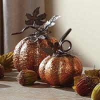 Best Set of 2 Iron Galvanized Gold 6 Inch and 5 Inch Fall Harvest Tabletop Pumpkins wholesale