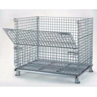 China Foldable Wire Mesh Storage Cages Stackable Basket Container 800kg Load Capacity on sale