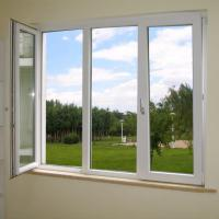 China Powder Coating UPVC Window And Door With 4mm Glass Sheet on sale