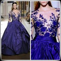 Best Zuhair Murad Blue Long Sleeves Taffeta Quinceanera Party Dresses For Star wholesale