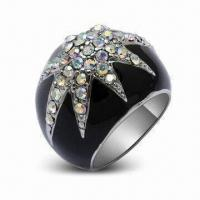 Best Fashionable Rings with Rhodium Plating and Crystal, OEM Orders are Welcome wholesale