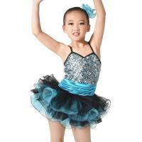 Best MiDee Costume Sequin Top Multi Colors Tires Tutus with Ruffled Hem Wide Waistbands Dance Competitions Dress for Girls. wholesale