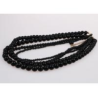 Best Fashion Graduated Costume Pearl Necklace Accessories Four Strand Black Color wholesale