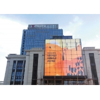 China Building Facade Video Wall Large Screen Curtain LED Display With Strong Unit DIP Sign on sale