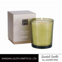 Best Handmade Scented Soy Candles , Long Lasting Scented Candles In Green Clear Bottle wholesale