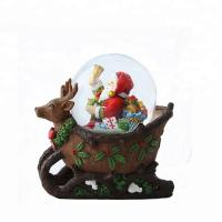 Best Polyresin souvenir santa claus crystal glass gifts snow crystal ball Christmas music snow water ball wholesale