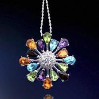 Best Rhodium-plated Silver Pendant, Decorated with Zirconia Stones wholesale