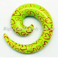 Best Red Heart Print Spiral Ear Tapers /Yellow Ear Spiral Tapers wholesale