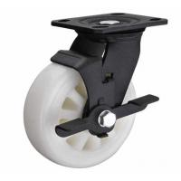 "Best 6""x2"" white nylon wheel for heavy duty caster with side brake black lacquer plated wholesale"