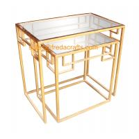 Best New design tempered glass top with metal powder coated frame coffee table nesting table wholesale