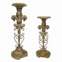 Best 2-pillar Candle Holders, Made of Polystone and Metal, with FDL Design wholesale