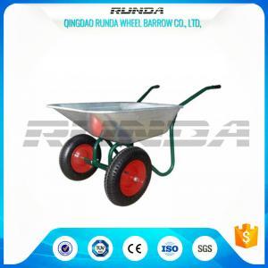 Best Durable Heavy Duty Wheelbarrow , Two Wheel Steel WheelbarrowWide Stance Legs wholesale
