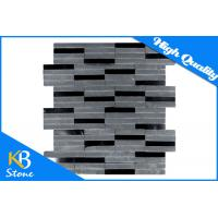 China Mix Gray And Black Stone Marble Tiles Honed Marble Mosaic Tile for Bathroom Wall and Floor on sale